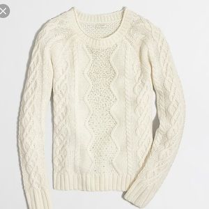 J crew factory embellished cable knit sweater